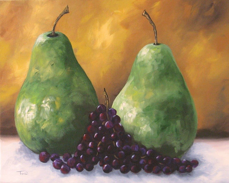 """Pears and Grapes II"" original fine art by Torrie Smiley"