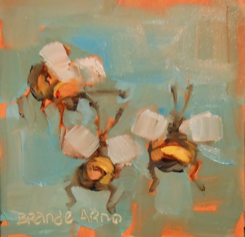 """Big Bottomed Bees Threes"" original fine art by Brande Arno"