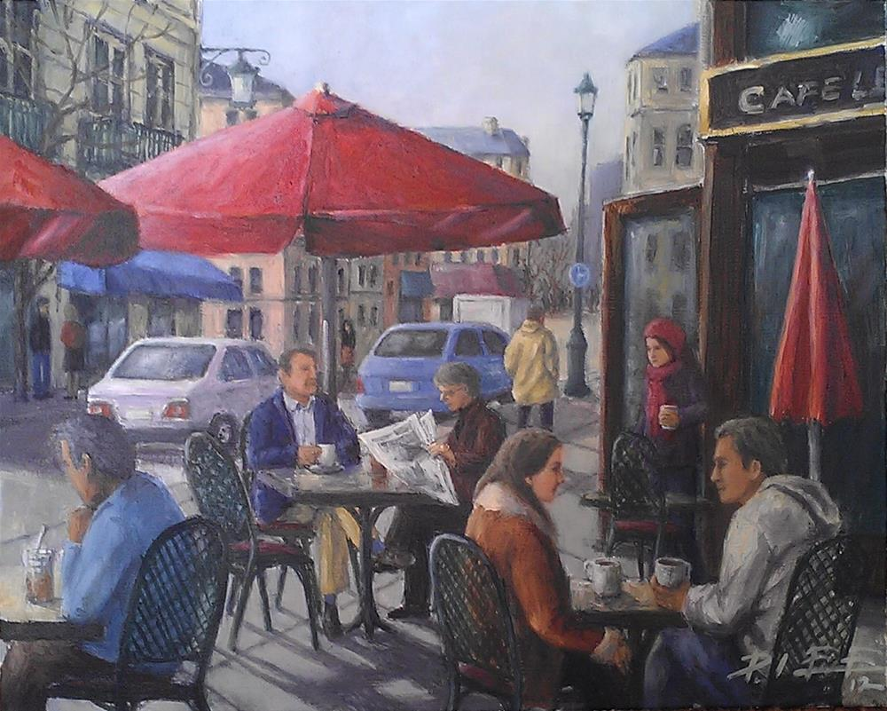 """Cafe Le Crystal"" original fine art by Peter Lee"
