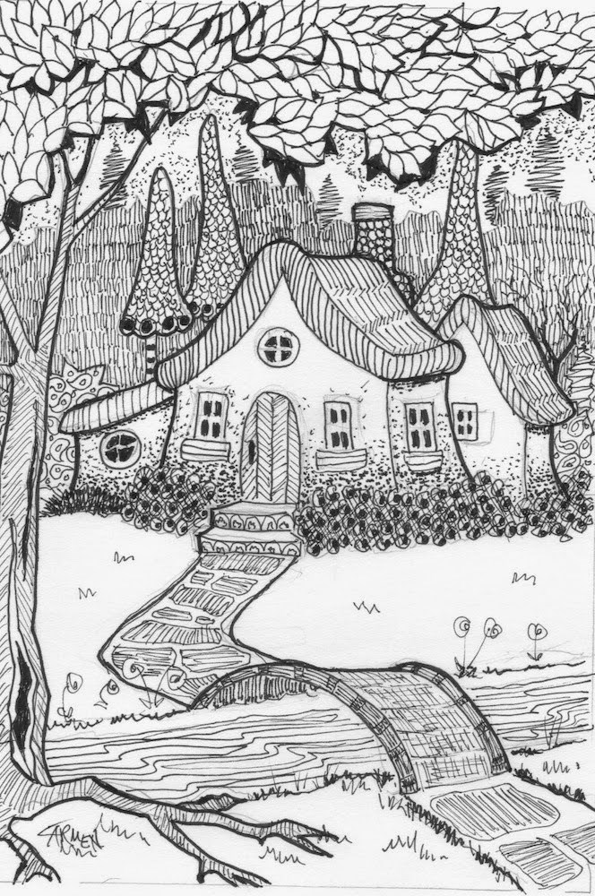 """The Little Bridge, 5x7 Pen and Ink Drawing"" original fine art by Carmen Beecher"
