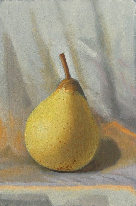 """A pear"" original fine art by Peter Orrock"