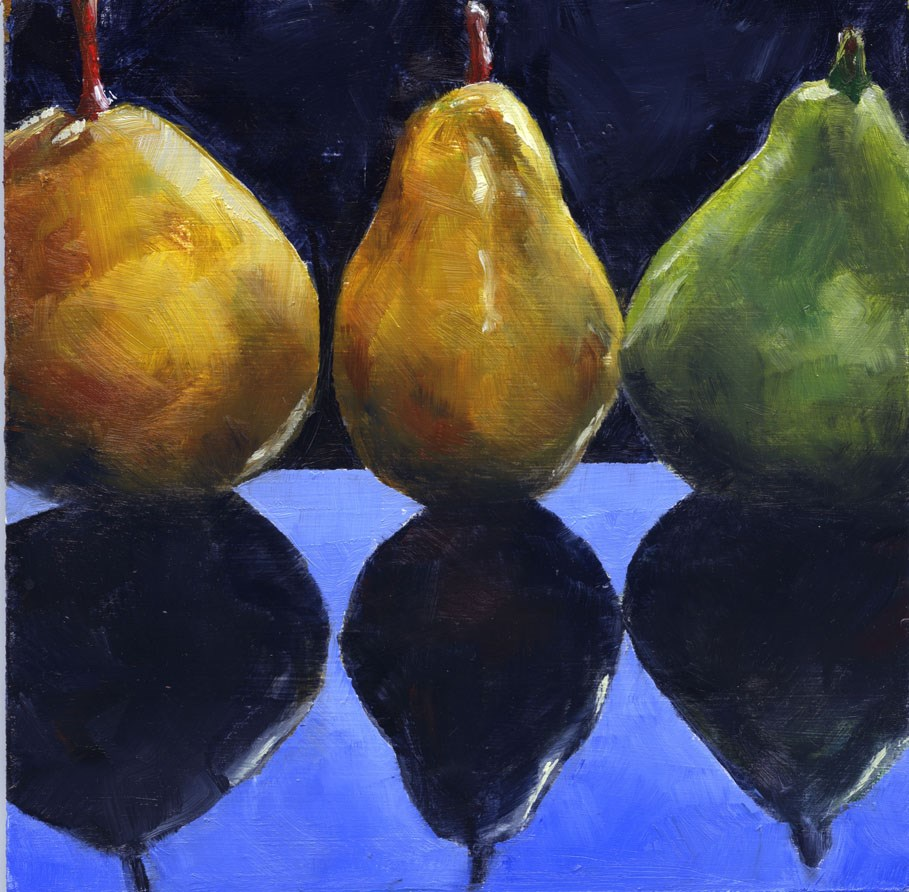 """Three Pears"" original fine art by Eileen Hennemann"