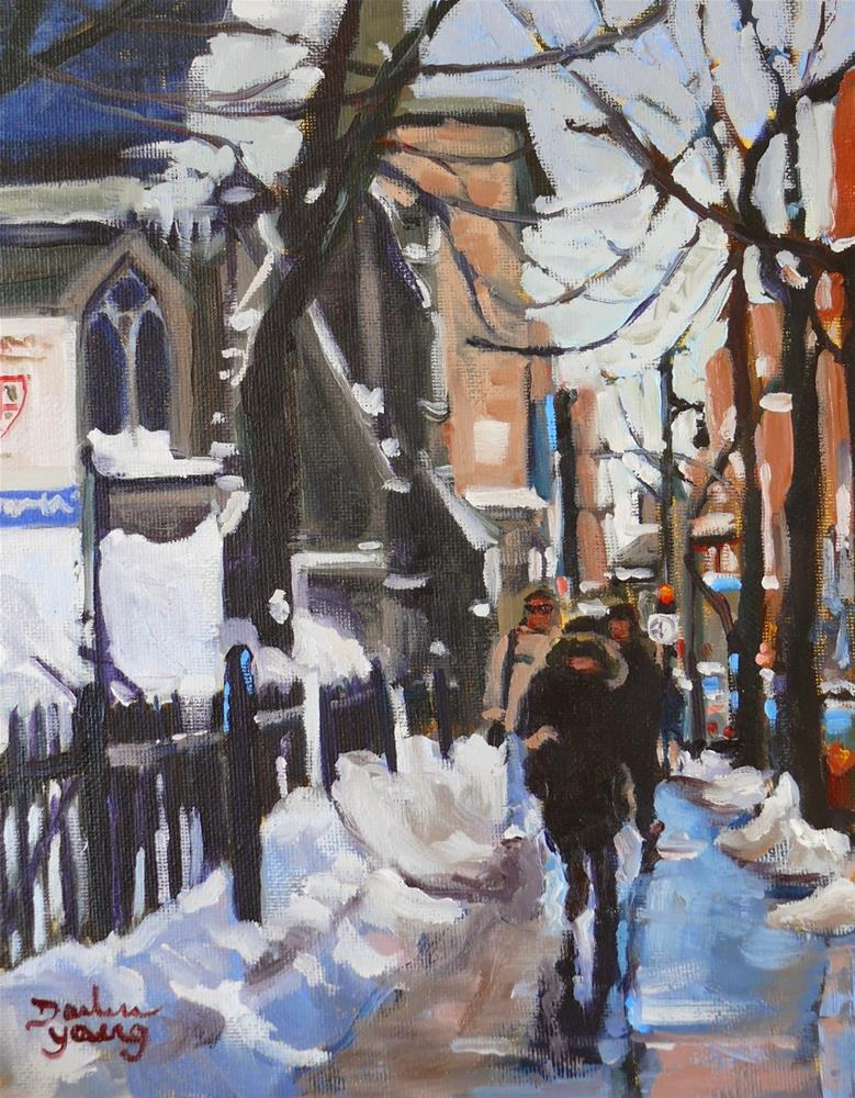 """833 Montreal Winter Ste-Catherine, oil, 8x10"" original fine art by Darlene Young"