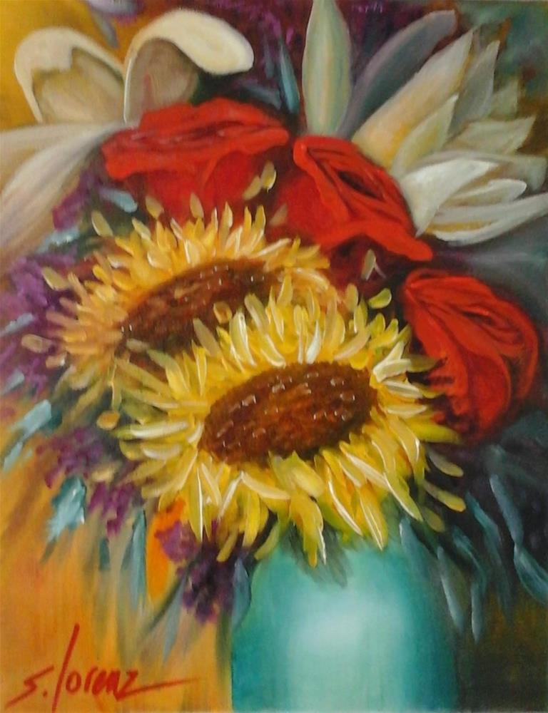 """Linda's Sunflowers"" original fine art by Sue Lorenz"