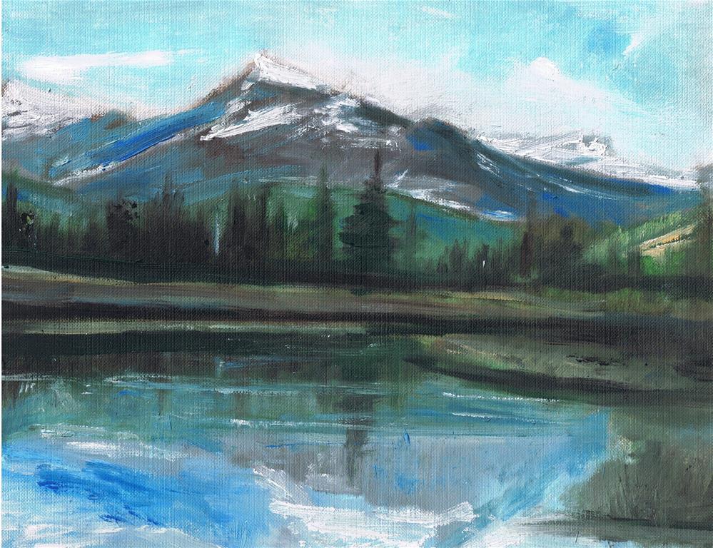 """The Mountain View (10 x 8 oil on canvas sheet - no frame)"" original fine art by Ramon DelRosario"