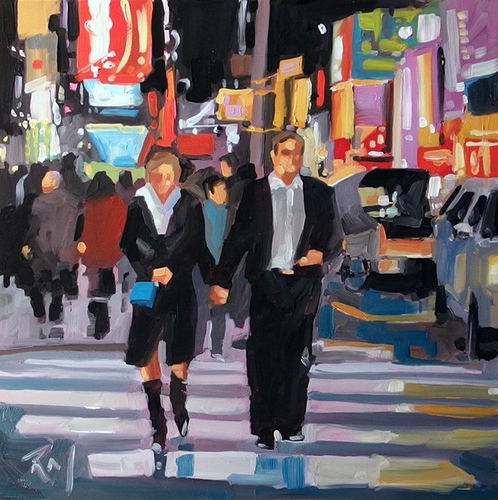 """No 713 NY Date Night"" original fine art by Robin J Mitchell"