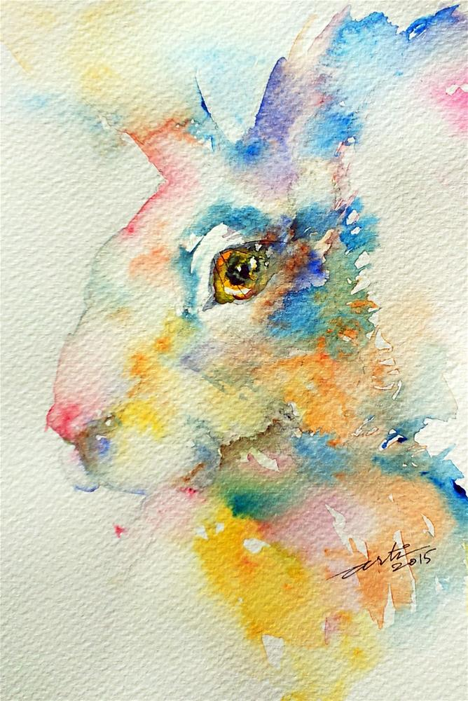 """Blue hare"" original fine art by Arti Chauhan"