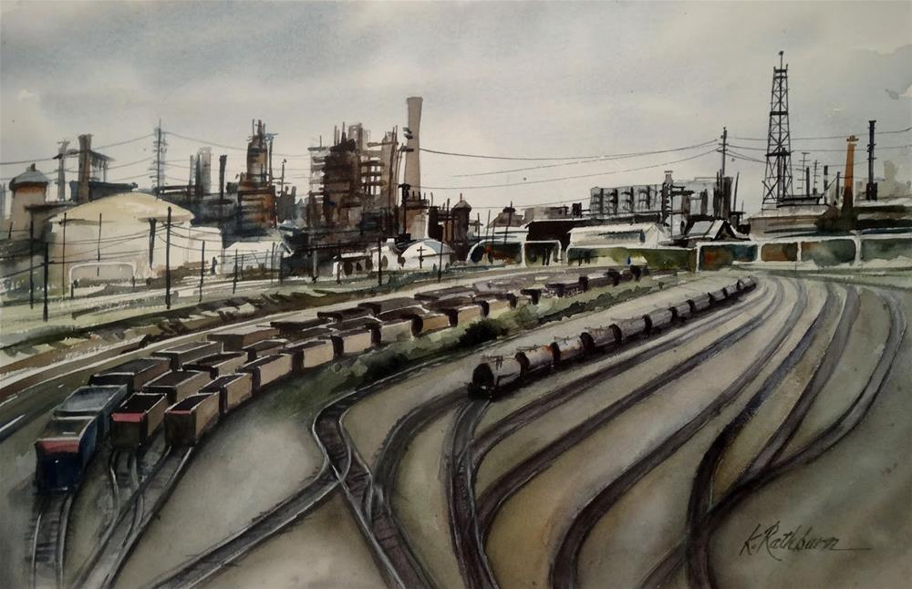 """The Switching Yard"" original fine art by Kathy Los-Rathburn"