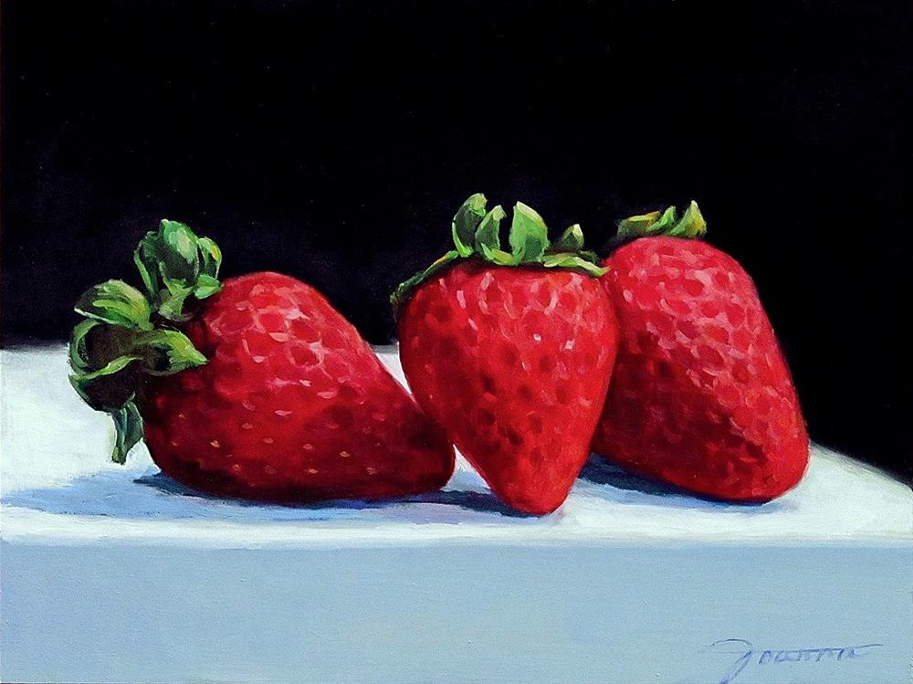 """Three Strawberries"" original fine art by Joanna Bingham"