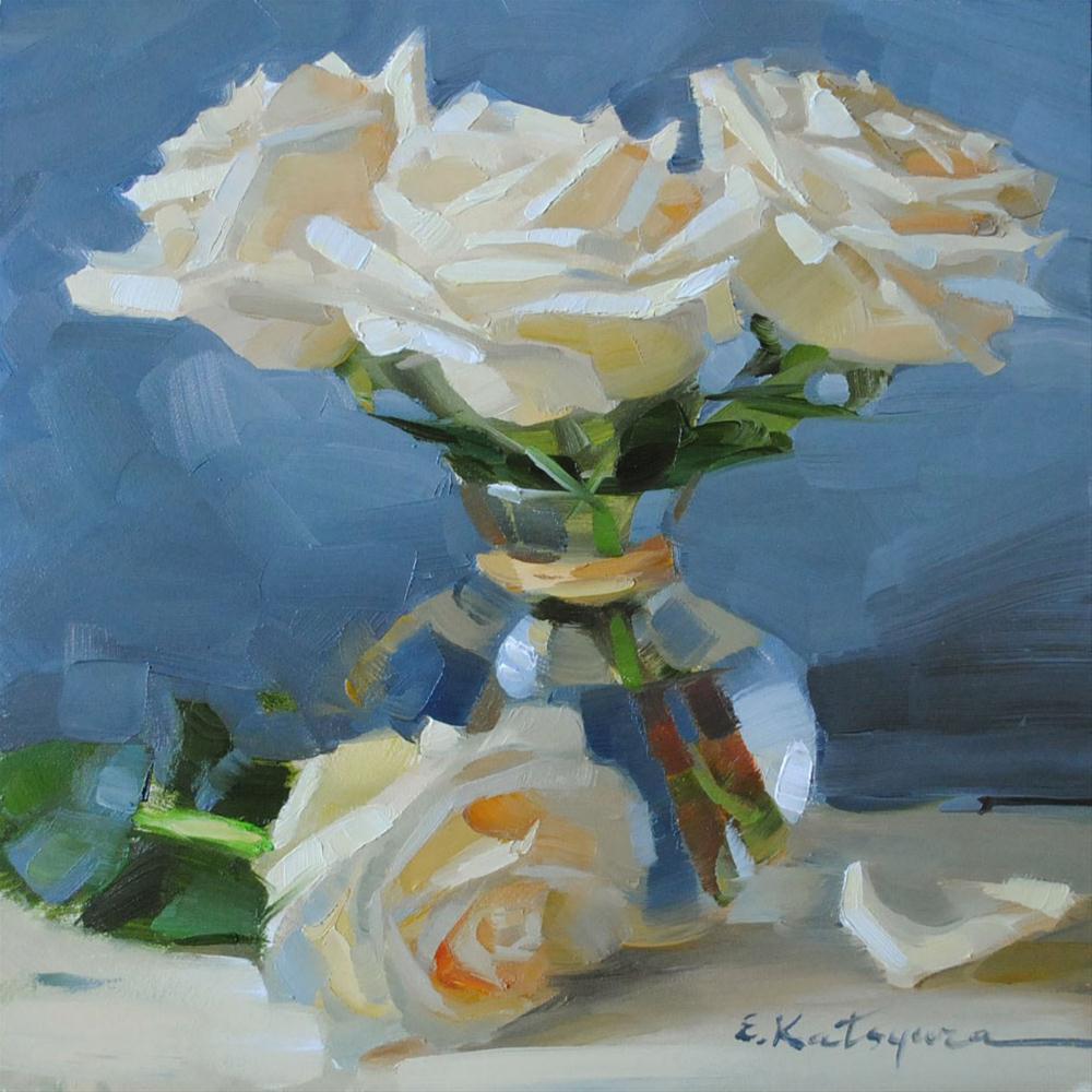 """White Roses"" original fine art by Elena Katsyura"