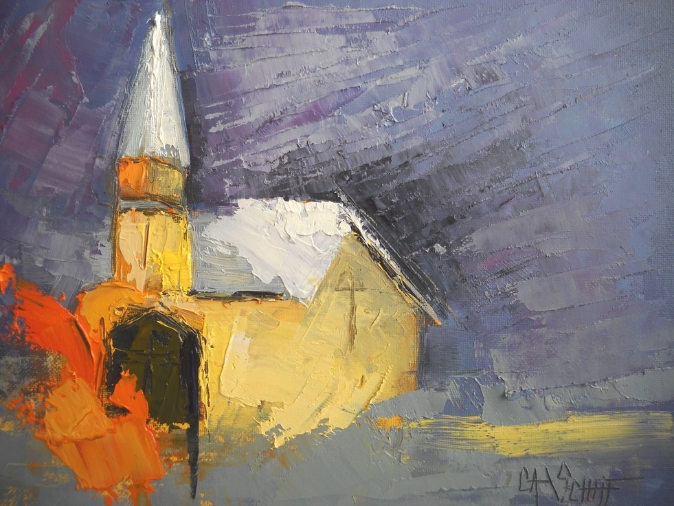 """Small Abstract Painting, Church Painting The Safe Place by Carol Schiff, 6x8 Oil"" original fine art by Carol Schiff"