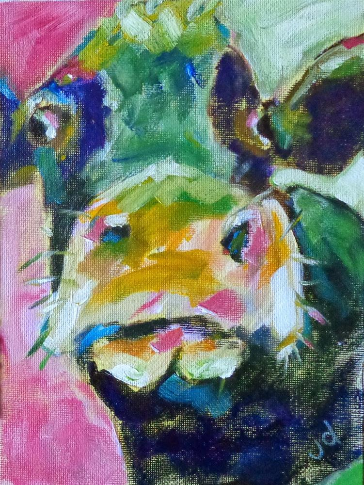 """Cow 8"" original fine art by Jean Delaney"