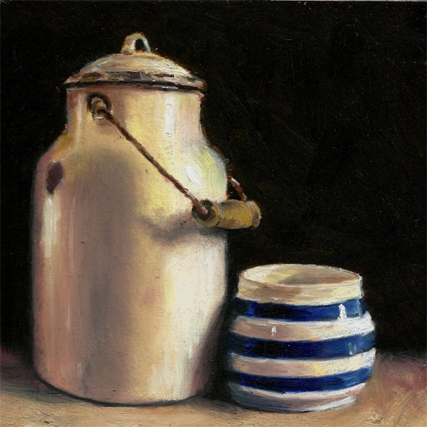 """Enamel milk pail with Cornish ware pot"" original fine art by Peter J Sandford"