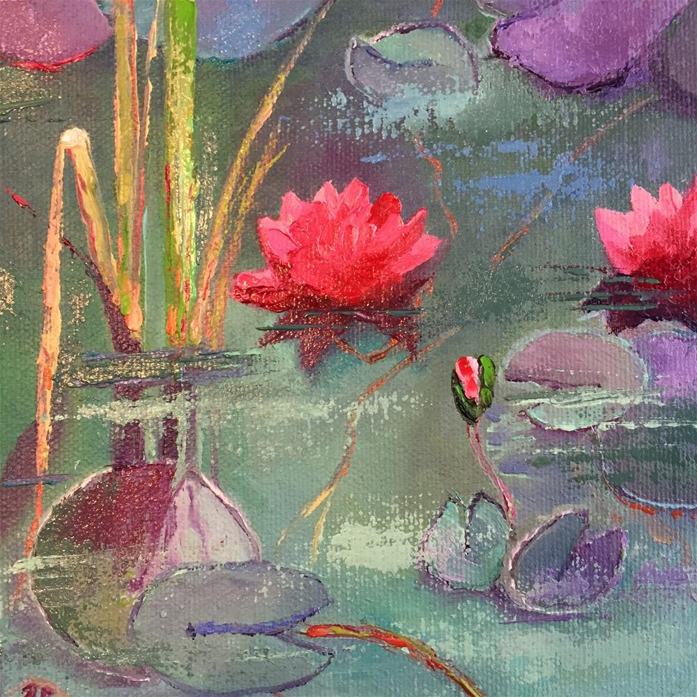 """Pink Water Lilies"" original fine art by Rose Brenner"