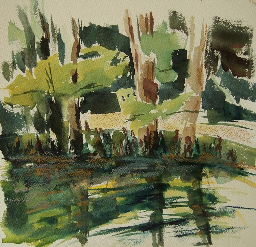 """Cypress at Pond's Edge"" original fine art by Amy Bryce"