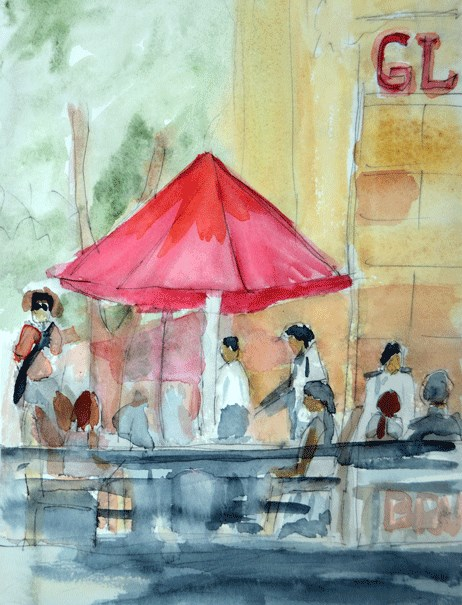 """Sunday Brunch 1"" original fine art by Donna Crosby"