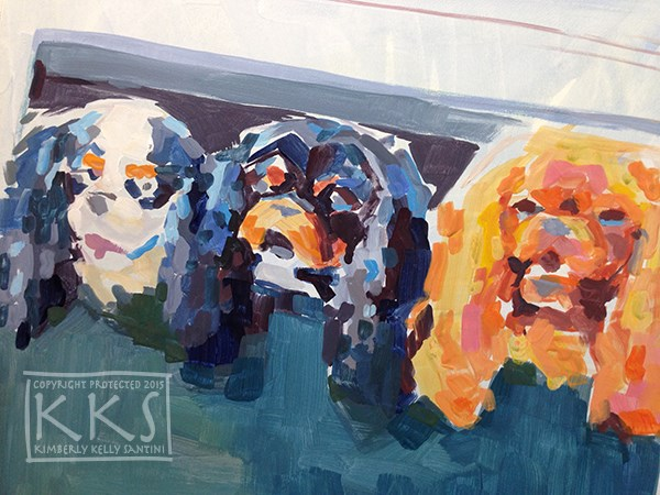 """In Process Detail, Family Outing"" original fine art by Kimberly Santini"