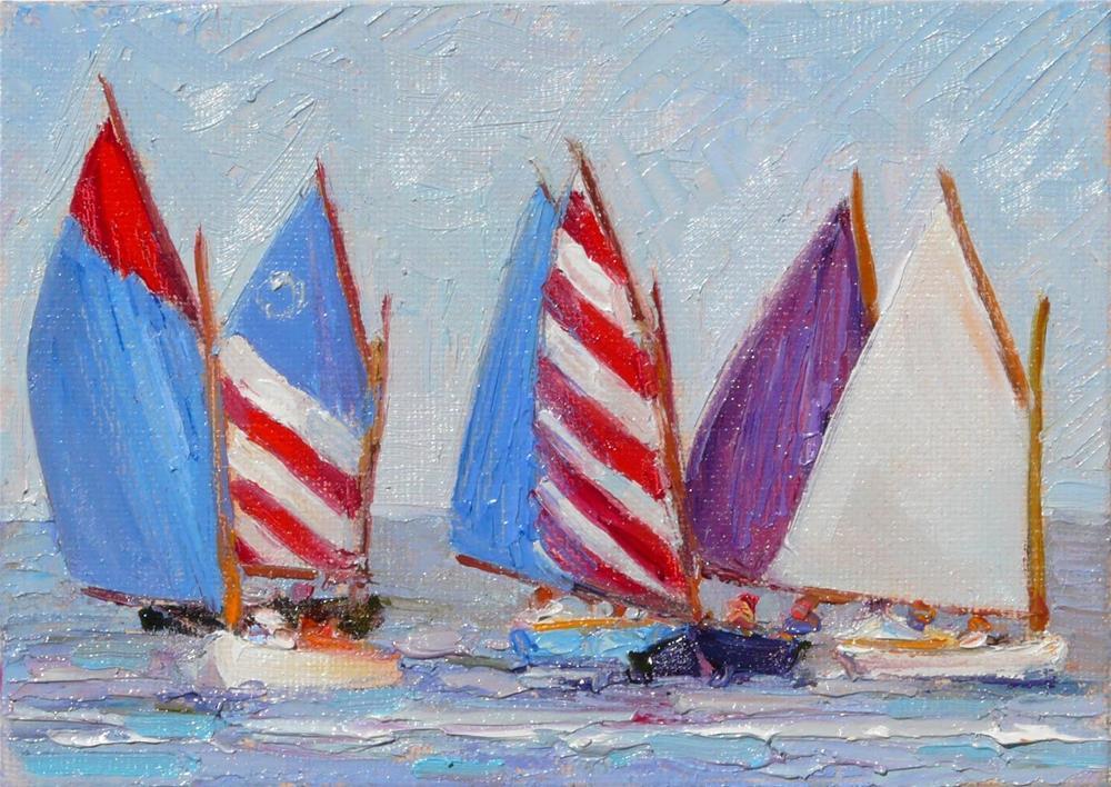 """""""July Forth Race,seascape,oil on canvas,5x7,price$100"""" original fine art by Joy Olney"""