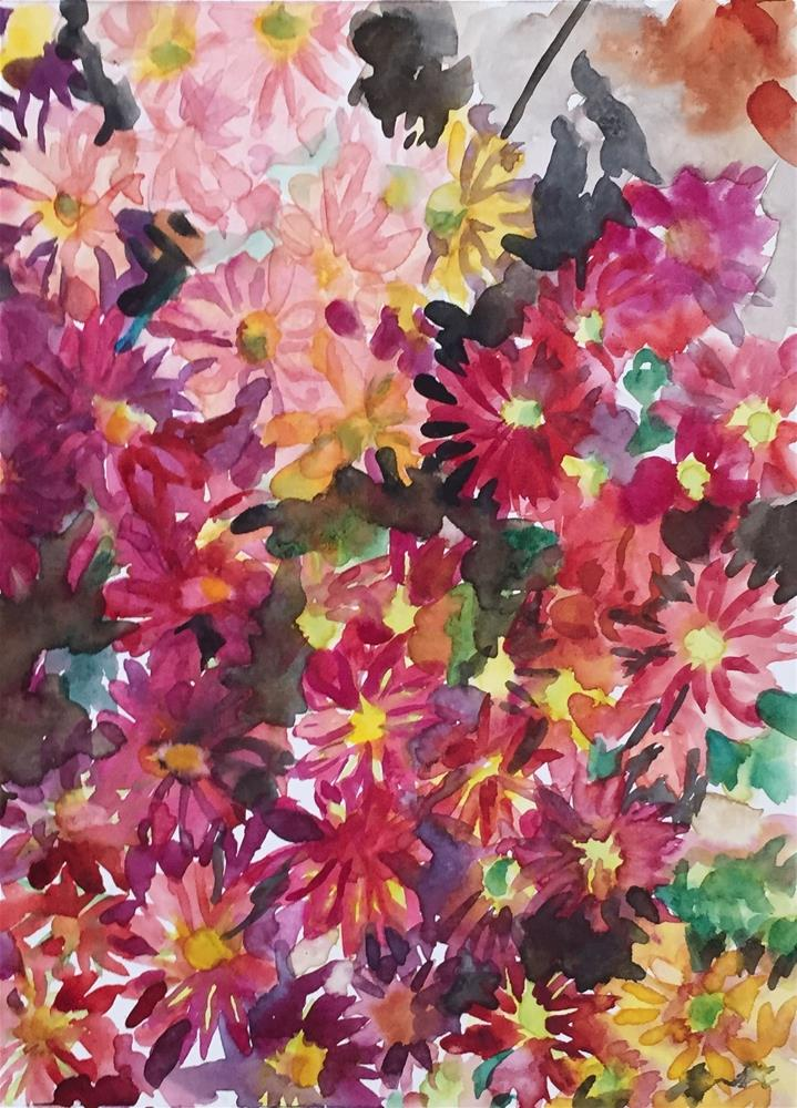 """Chrysanthemums"" original fine art by jean krueger"