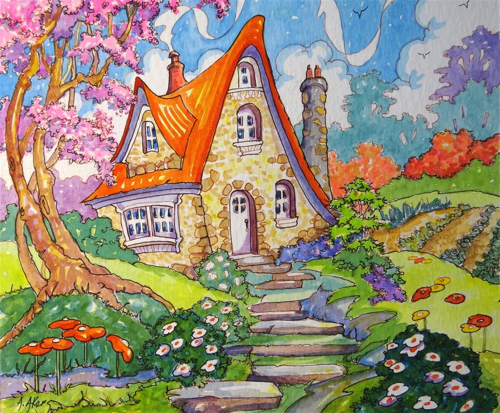 """A Little Cottage Spring Storybook Cottage Series"" original fine art by Alida Akers"