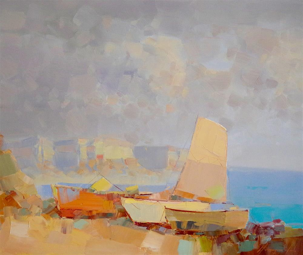 """""""Boats, Seascape oil Painting by Palette Knife"""" original fine art by V Y"""