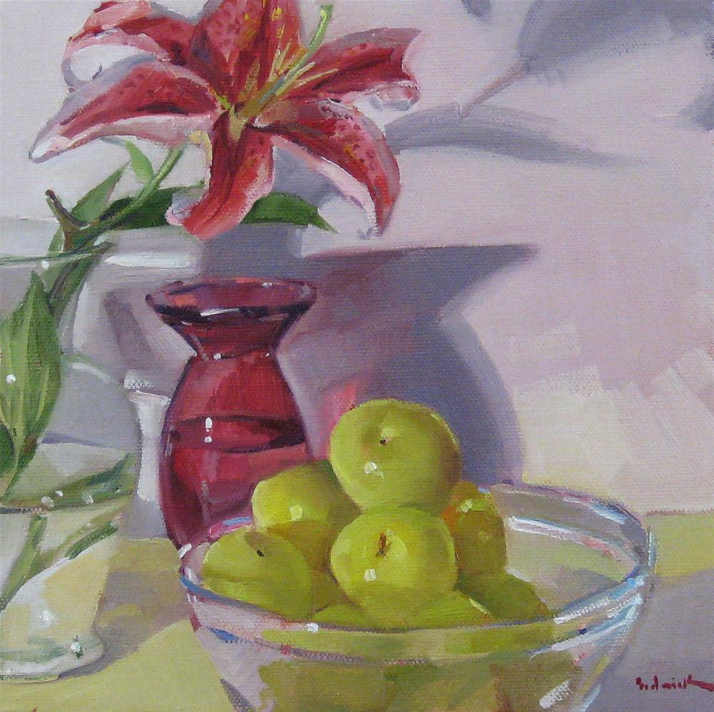 """Stargazer Lily and Green Plums daily painting fruit and flowers still life floral"" original fine art by Sarah Sedwick"