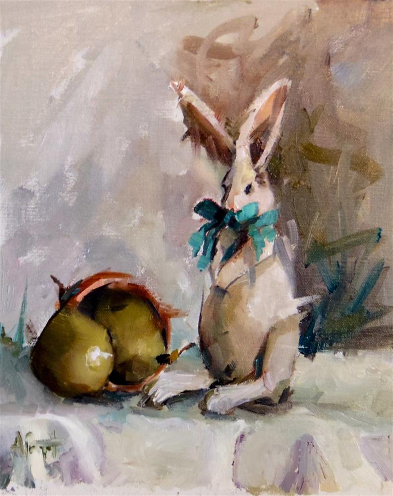 """Bunny and Pears"" original fine art by Anne Marie Propst"