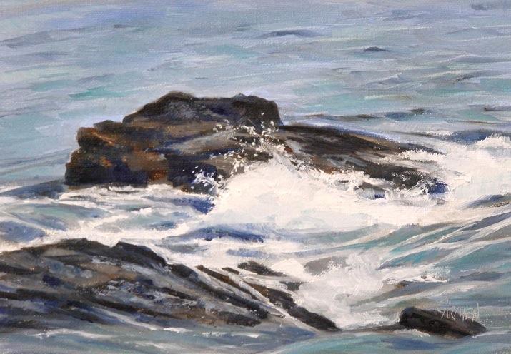 """Rock and Roll, Oil on Linen, 5x7"" original fine art by Carmen Beecher"