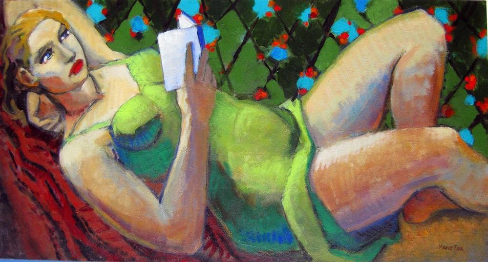 """Reclining Woman Reading, figurative painting, female figuration, contemporary figure painter"" original fine art by Marie Fox"