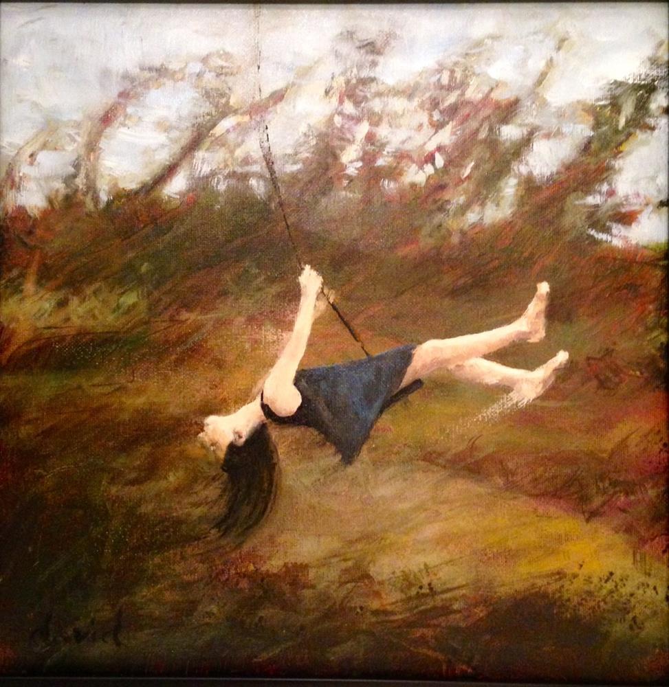 """Swing 12 x12 oil on canvas"" original fine art by David Larson Evans"