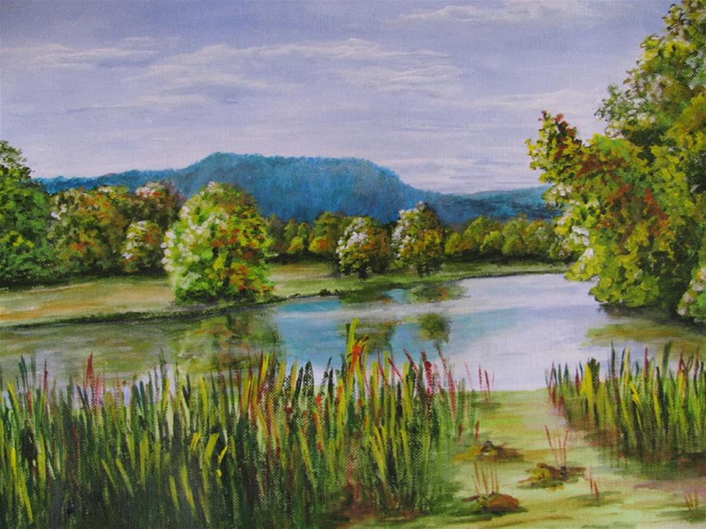 """At the pond"" original fine art by Nan Johnson"