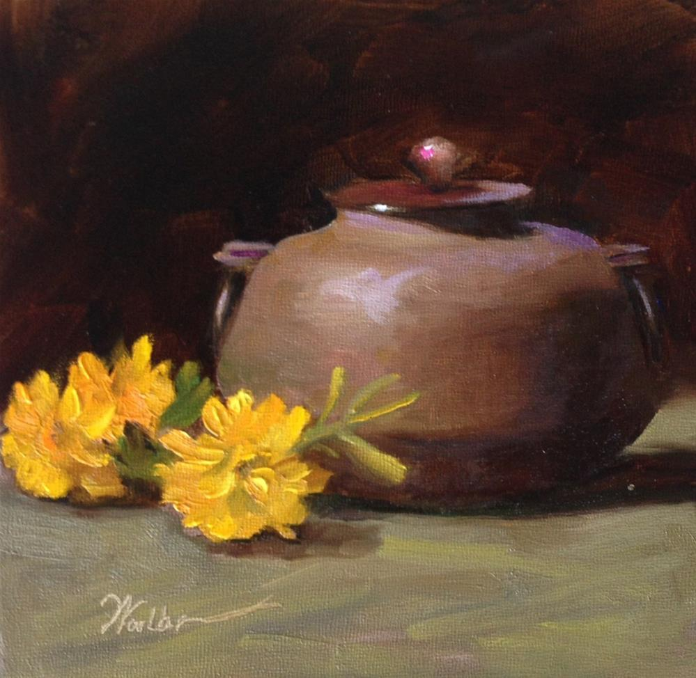 """""""Stoneware and Yellow Flowers"""" original fine art by Dorothy Woolbright"""