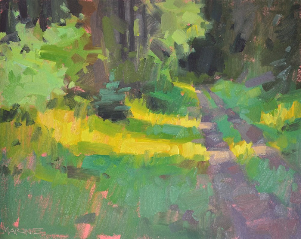 """Light in the Forest"" original fine art by Carol Marine"
