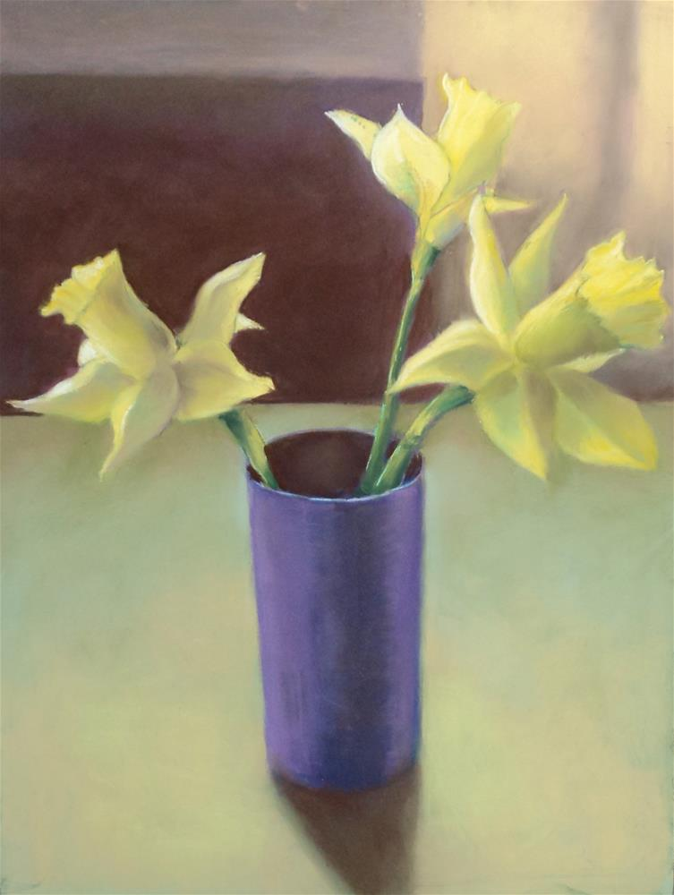 """Daffodils in a Purple Cup"" original fine art by Judy Albright"