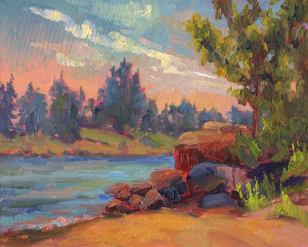 """RIVERSIDE ROCKS"" original fine art by Karen E Lewis"