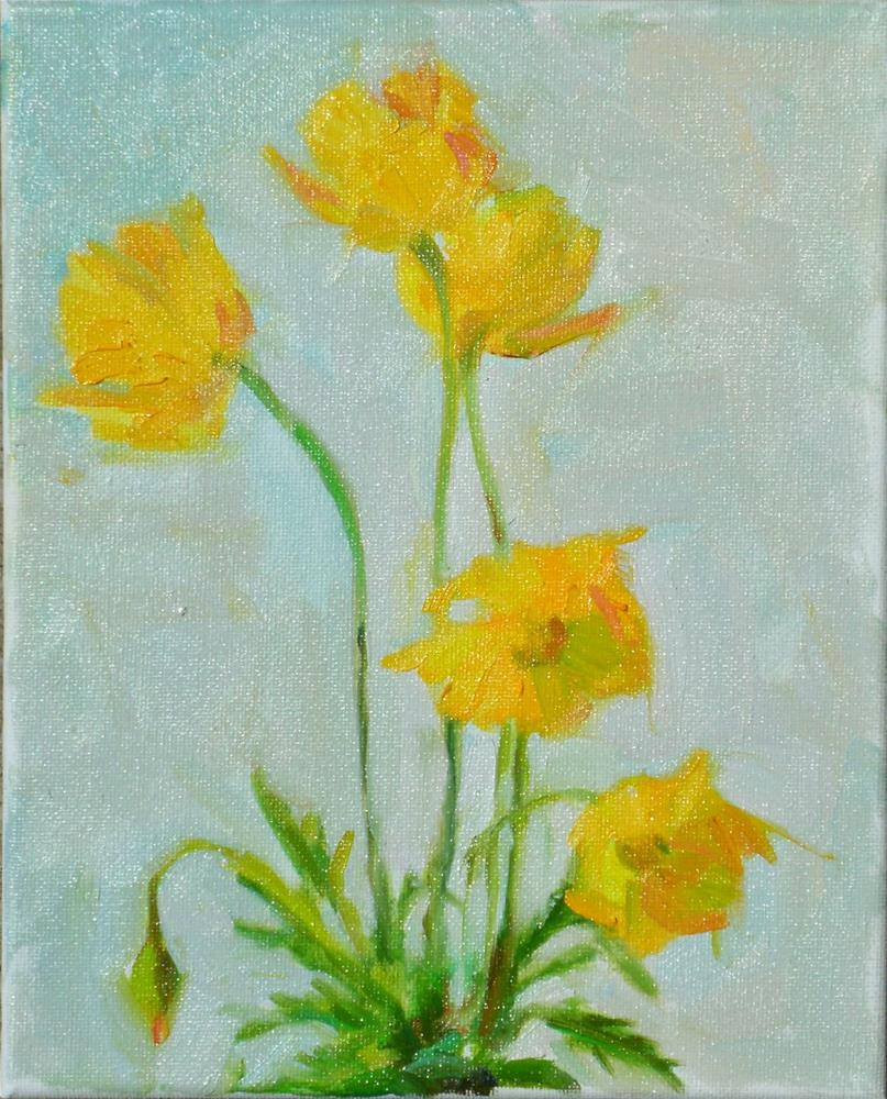 """Icelandic Poppies,still life,oil on canvas,10x8,price$200"" original fine art by Joy Olney"