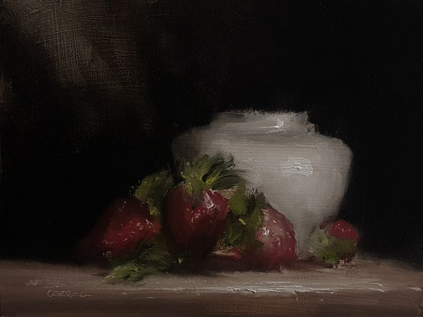 """Strawberries with Vase"" original fine art by Neil Carroll"