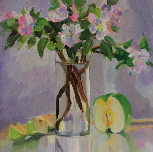 """Apple Blossoms and Fruit  oil still life painting"" original fine art by Robin Weiss"