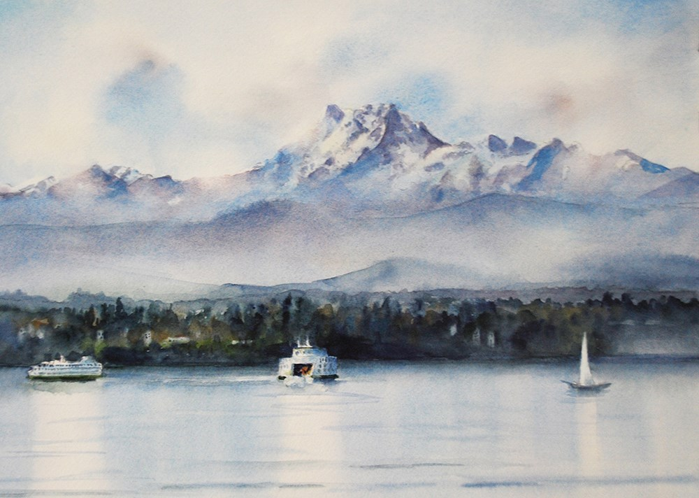 """Edmonds Ferries, Coming and Going"" original fine art by Mary Anderson"
