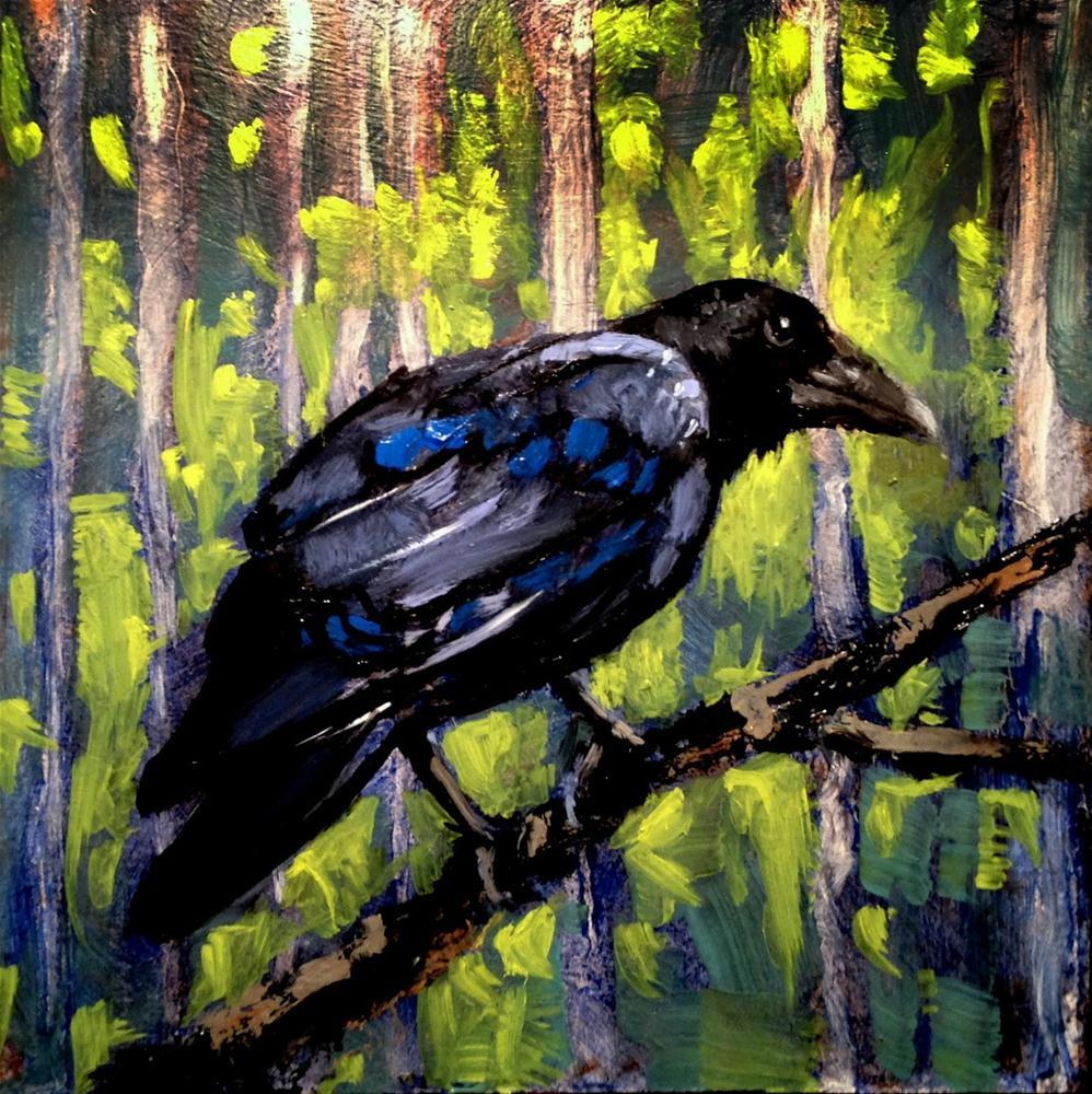 """Shorty 8x8 oil on panel in black 3 inch frame"" original fine art by David Larson Evans"