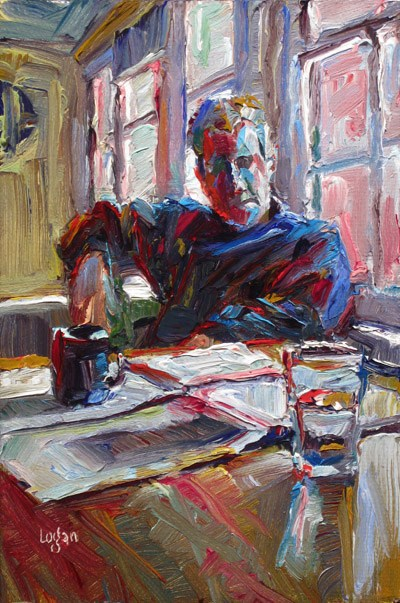 """Morning Artist (Self Portrait)"" original fine art by Raymond Logan"