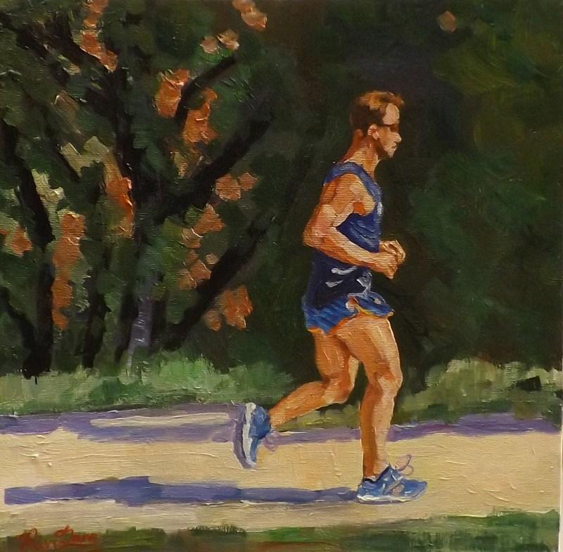 """""""Jogging"""" original fine art by Run-      Zhang Zane"""