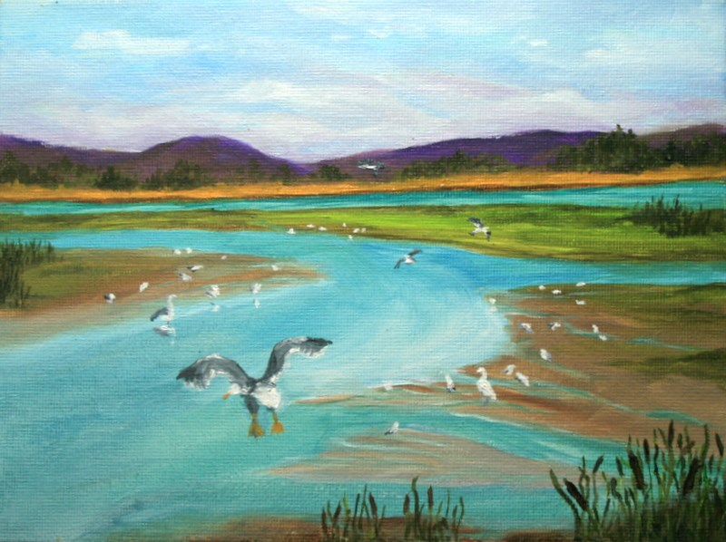 """Alsea Estuary"" original fine art by Jean Nelson"