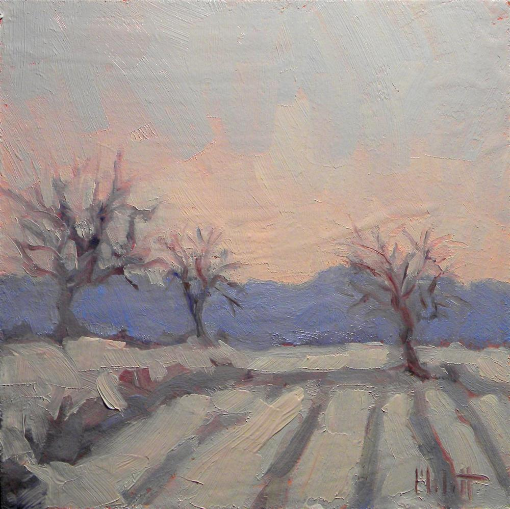 Winter Landscape Snow Trees Impressionist Oil Painting original fine art by Heidi Malott