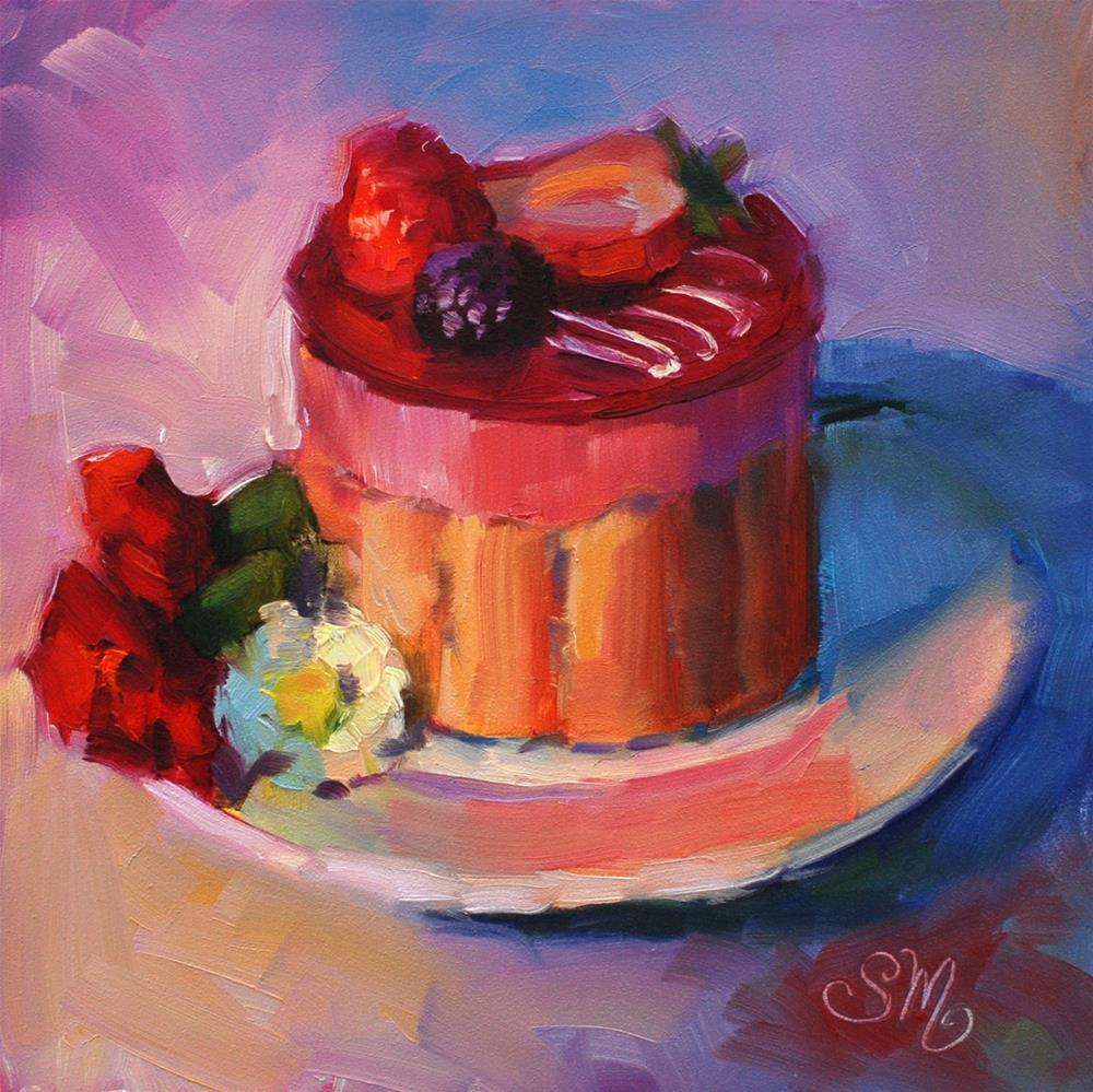 """""""No. 763 Raspberry Mousse French Pastry with Carnations and Mums"""" original fine art by Susan McManamen"""