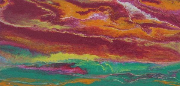 """Abstract Landscape,Sunset Art Painting Sky in Motion Reflected-Mini #1 by Colorado Contemporary Ar"" original fine art by Kimberly Conrad"