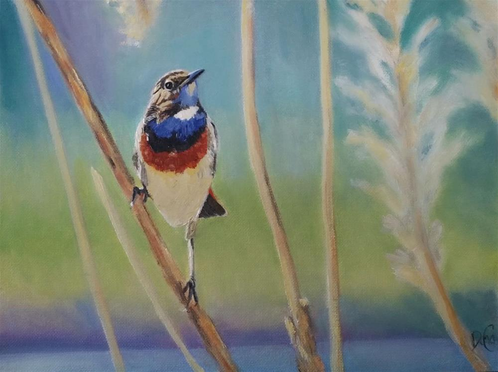 """Good-Morning Bluethroat"" original fine art by Dana C"