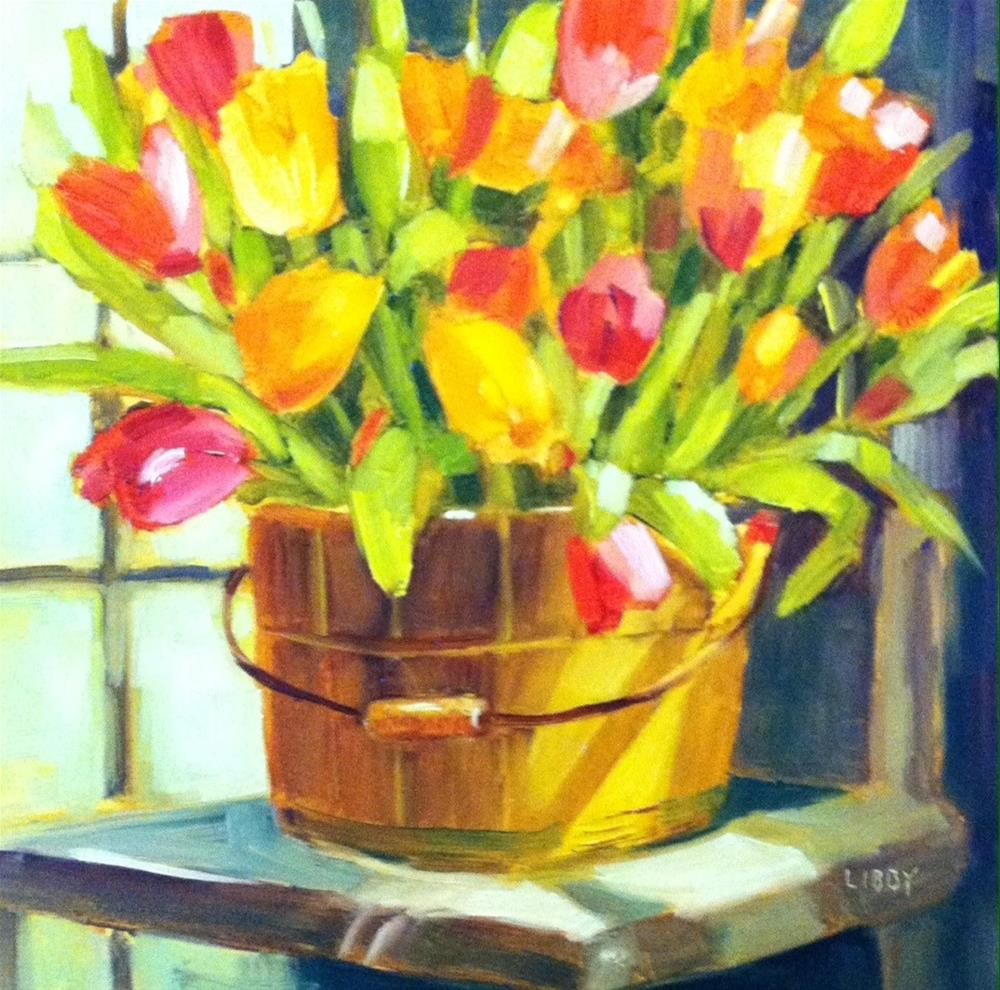 """Sunny Tulips"" original fine art by Libby Anderson"
