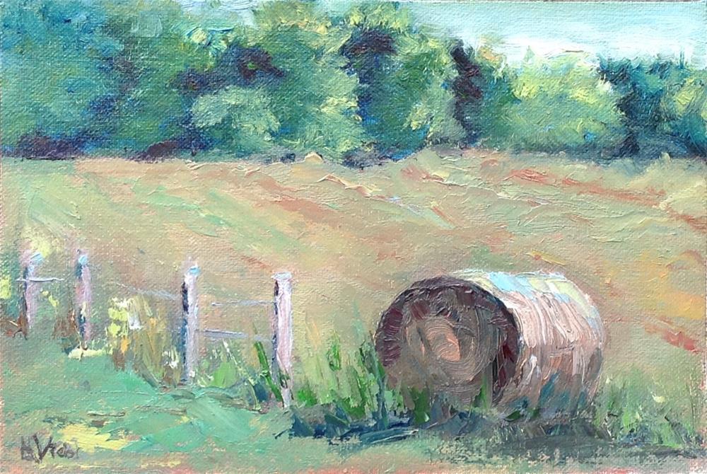 """Hay Bale-Rt. 217"" original fine art by Helen Viebrock Hamel"