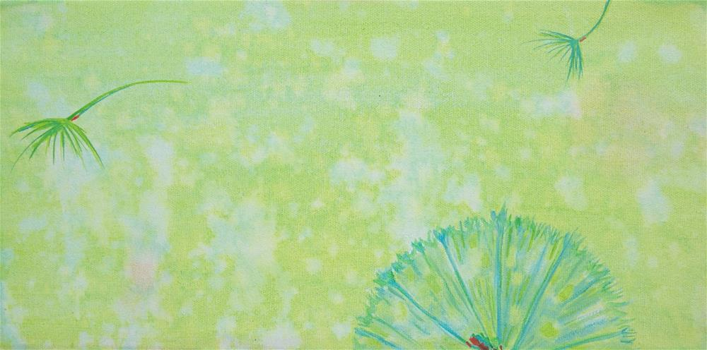 """Dandelion - lime"" original fine art by Bev Thibault"